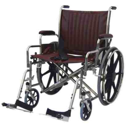 """24"""" Wide Non-Magnetic MRI Wheelchair w/ Detachable Footrests - Burgundy"""