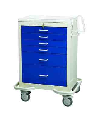 Key Lock 6 Drawer Anesthesia Cart
