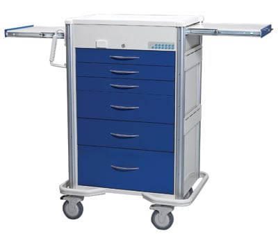 Select Series 6 Drawer Locking Anesthesia Cart - Proximity  Reader