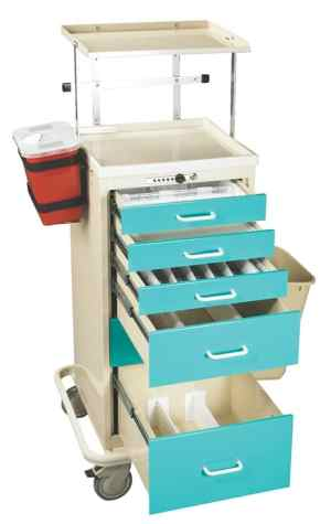 Anesthesia Carts (Mini Push Button Lock - 6 Drawer Tower) - TTA-PK
