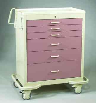 6 Drawer Wide Key Lock Cart - Aluminum