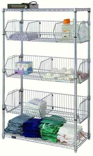 Wire Basket Mobile Cart with Two Shelves & Three Baskets