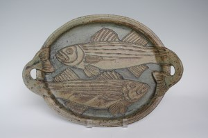 Bronze Green Glaze With Carved Fish and Sculpted Handles