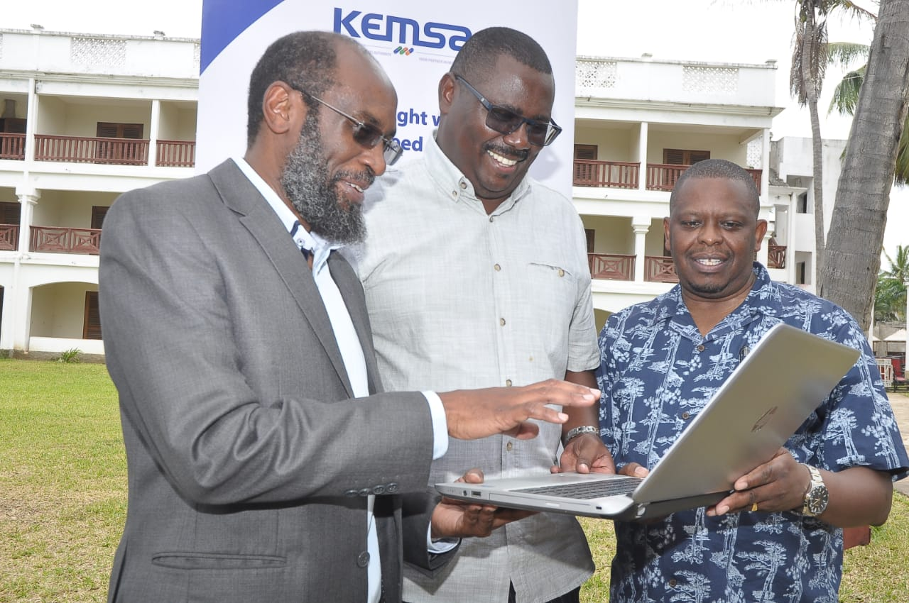 Prof Maina Muchara , KEMSA Board Director, Tom Wambua and KEMSA Chief Executive Officer Jonah Manjari during the KEMSA Board induction