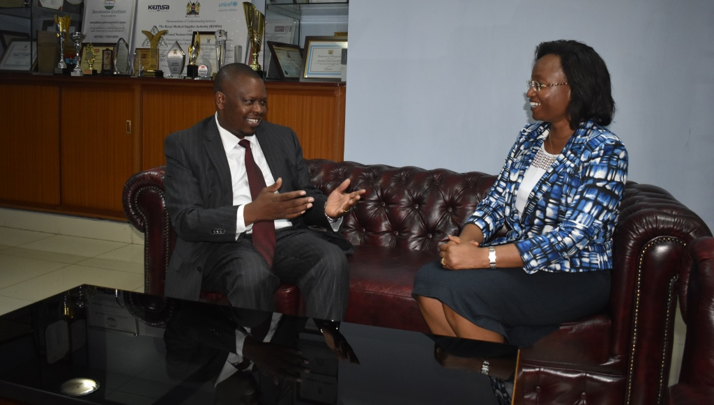 The incoming Health Permanent Secretary Ms. Susan Mochache paid a courtesy call on KEMSA CEO.