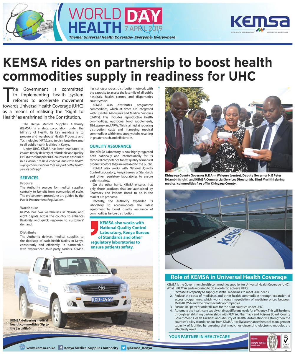 KEMSA rides on partnership to boost health commodities supply in