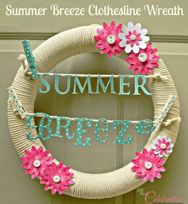 Summer Breeze Clothesline Wreath - Little Miss Celebration in the Summer Spotlight on Kenarry.com