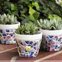 Mosaic Pots Trio: How To Make Broken China Mosaics