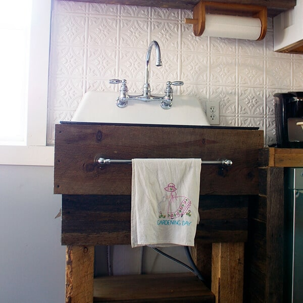 rustic kitchen sinks tall garbage can how to build a sink base get directions grandma s house diy