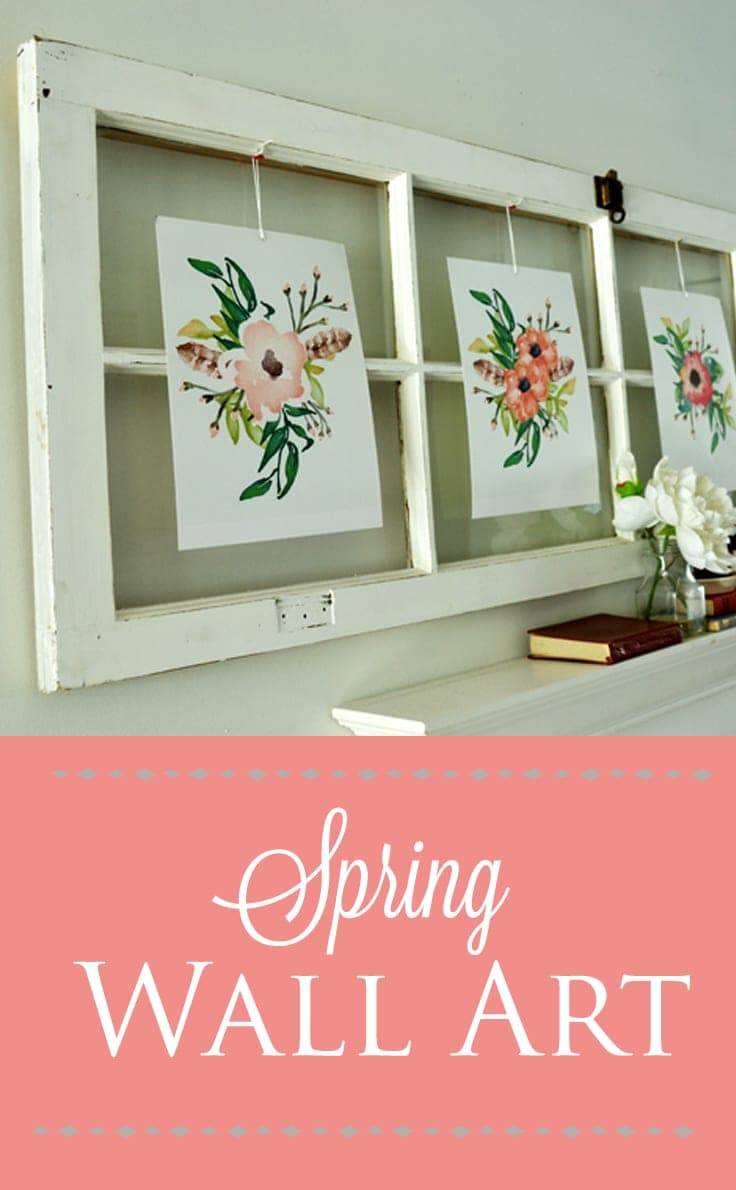 spring wall art using free printables and old window