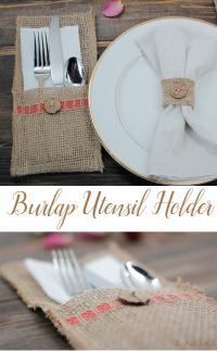 Make a Burlap Utensil Holder from Burlap Ribbon for a ...