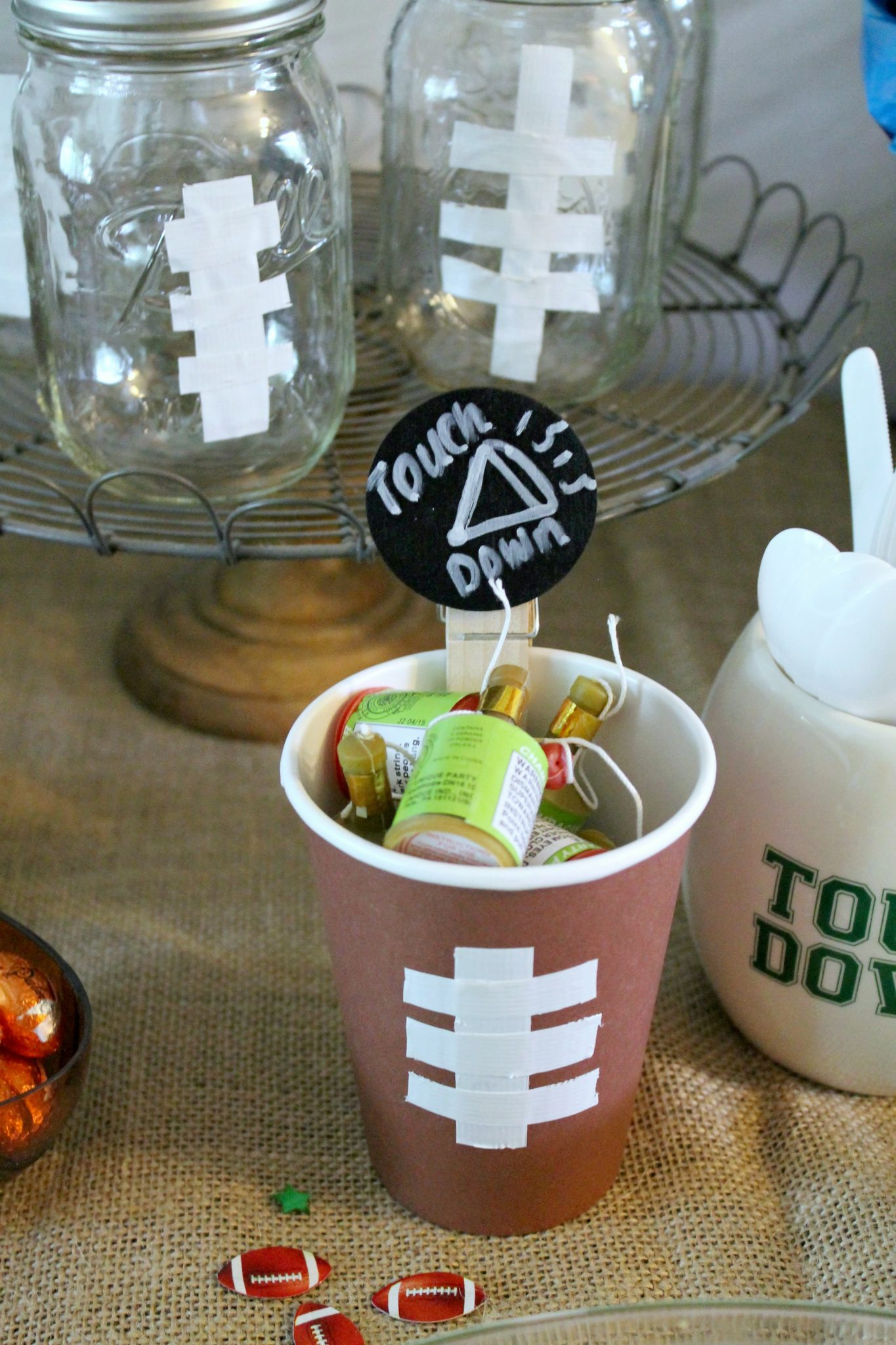 Rustic Football Party Chip Dip and Suds Station