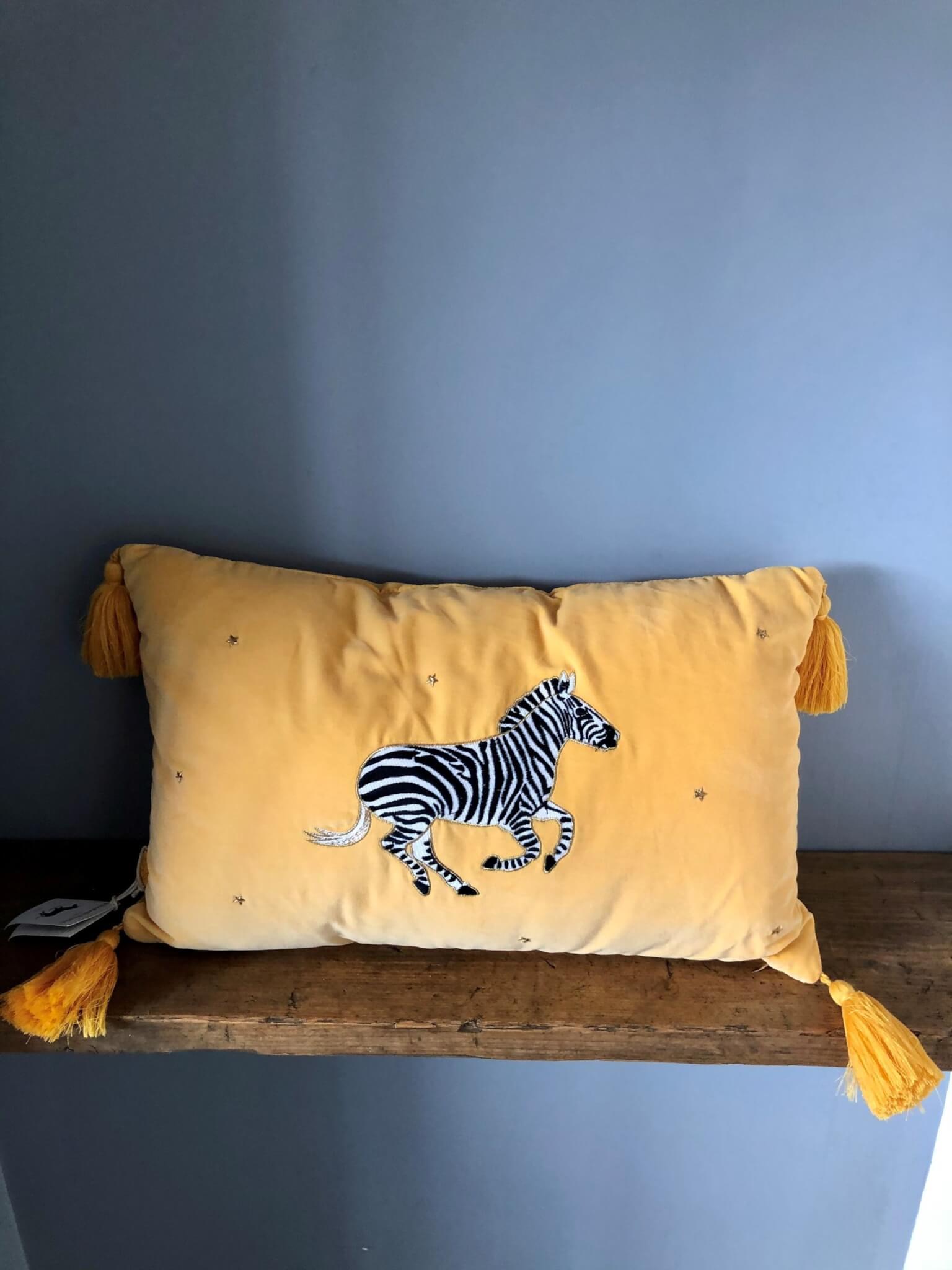 elizabeth scarlett zebra mustard velvet cushion