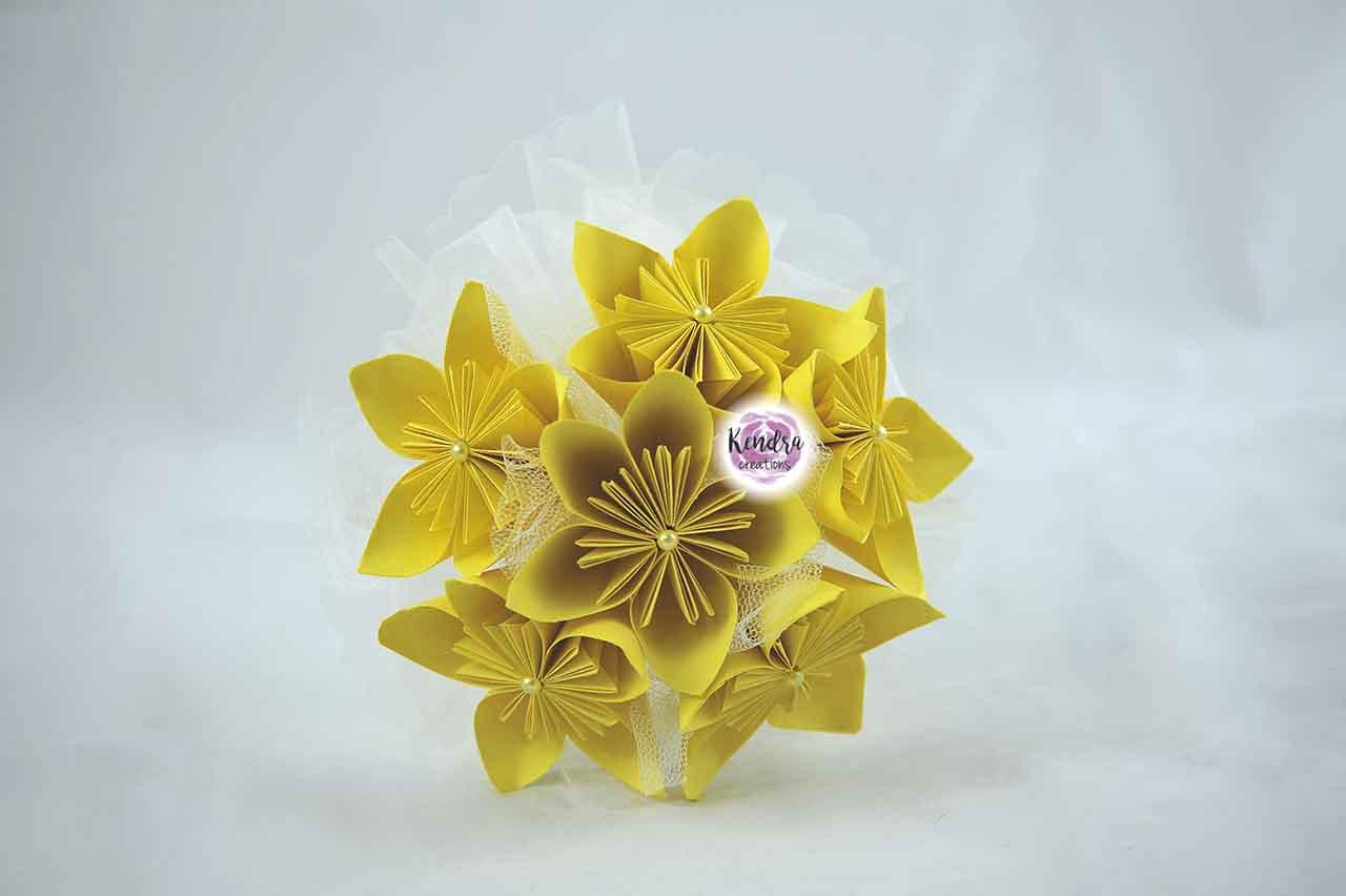 Bouquet prima comunione giallo origami