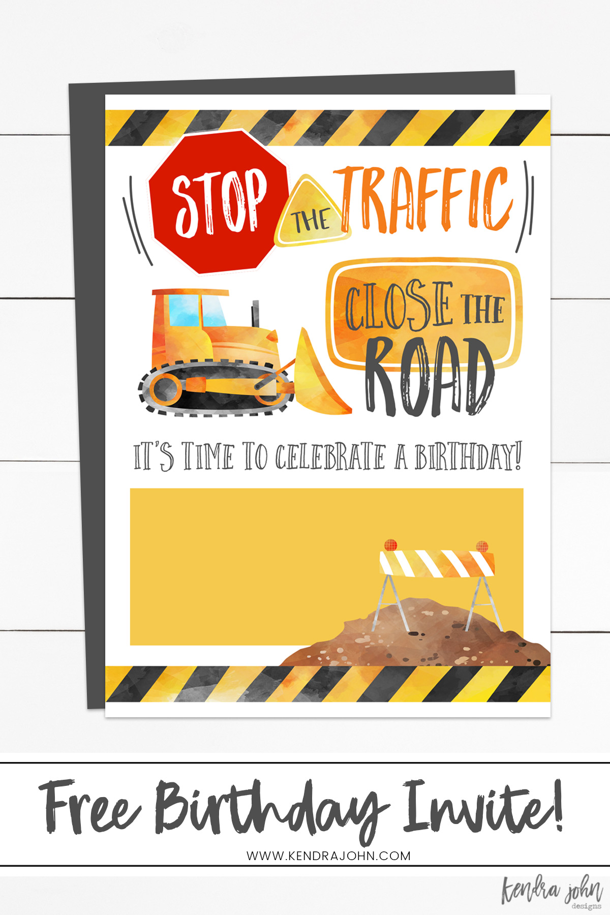 Free Construction Birthday Party Invitations