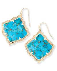 Kirsten Drop Earrings Bronze Veined Turquoise