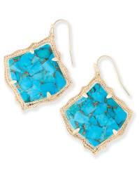 Kirsten Drop Earrings Bronze Veined Turquoise | Kendra Scott
