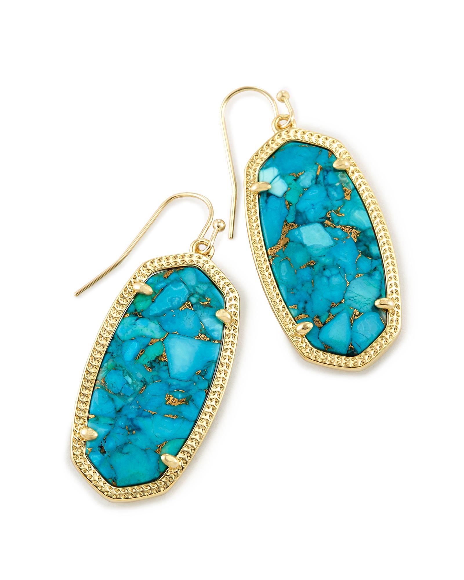 Elle Drop Earrings in Bronze Veined Turquoise