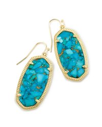 Elle Drop Earrings in Bronze Veined Turquoise