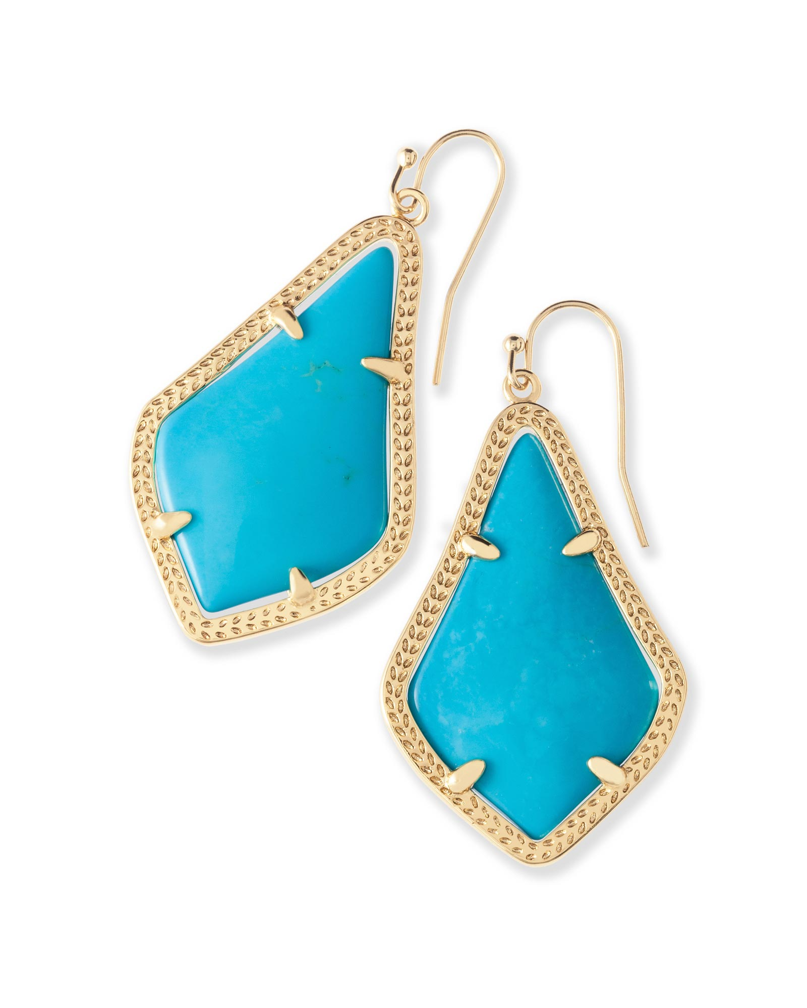 Alex Gold Drop Earrings in Blue Turquoise