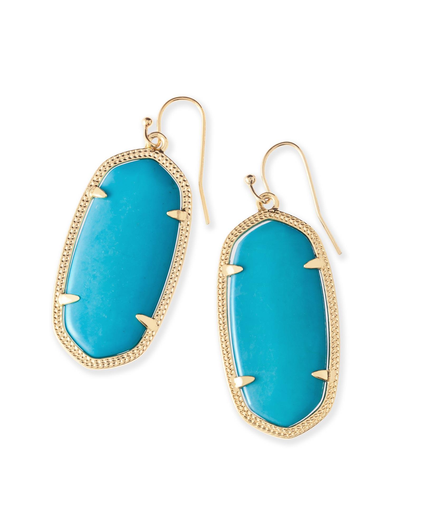Elle Drop Gold Earrings in Turquoise