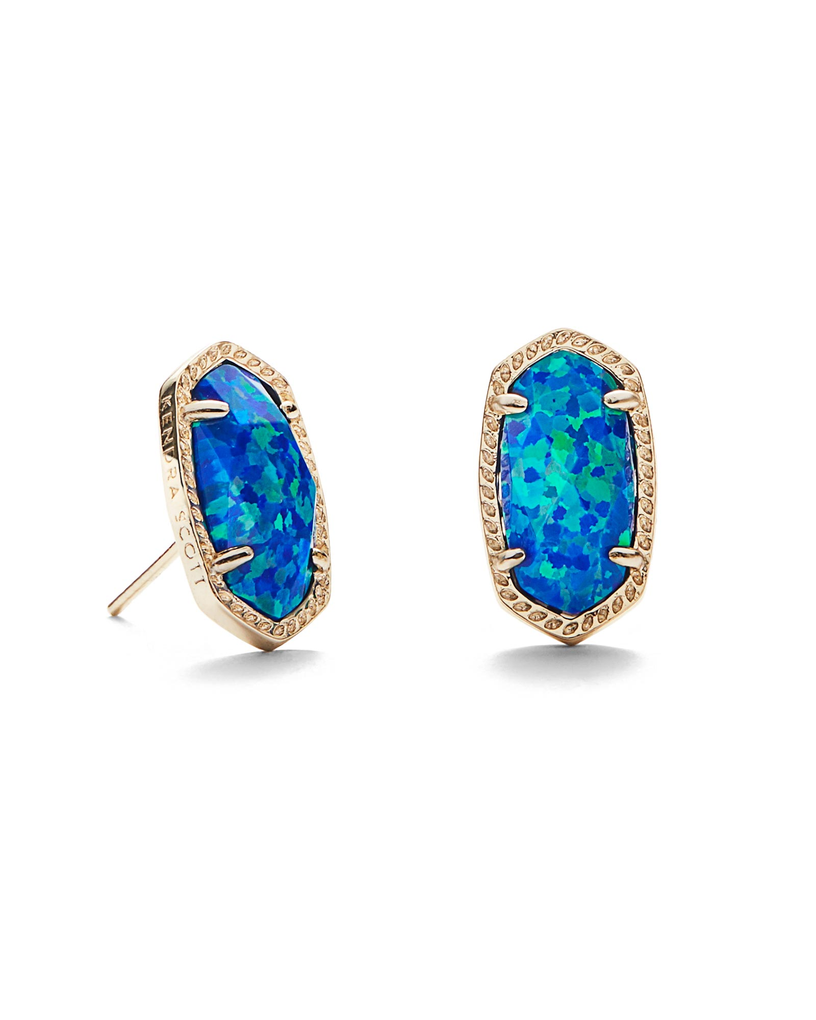 Ellie Gold Stud Earrings in Blue Opal
