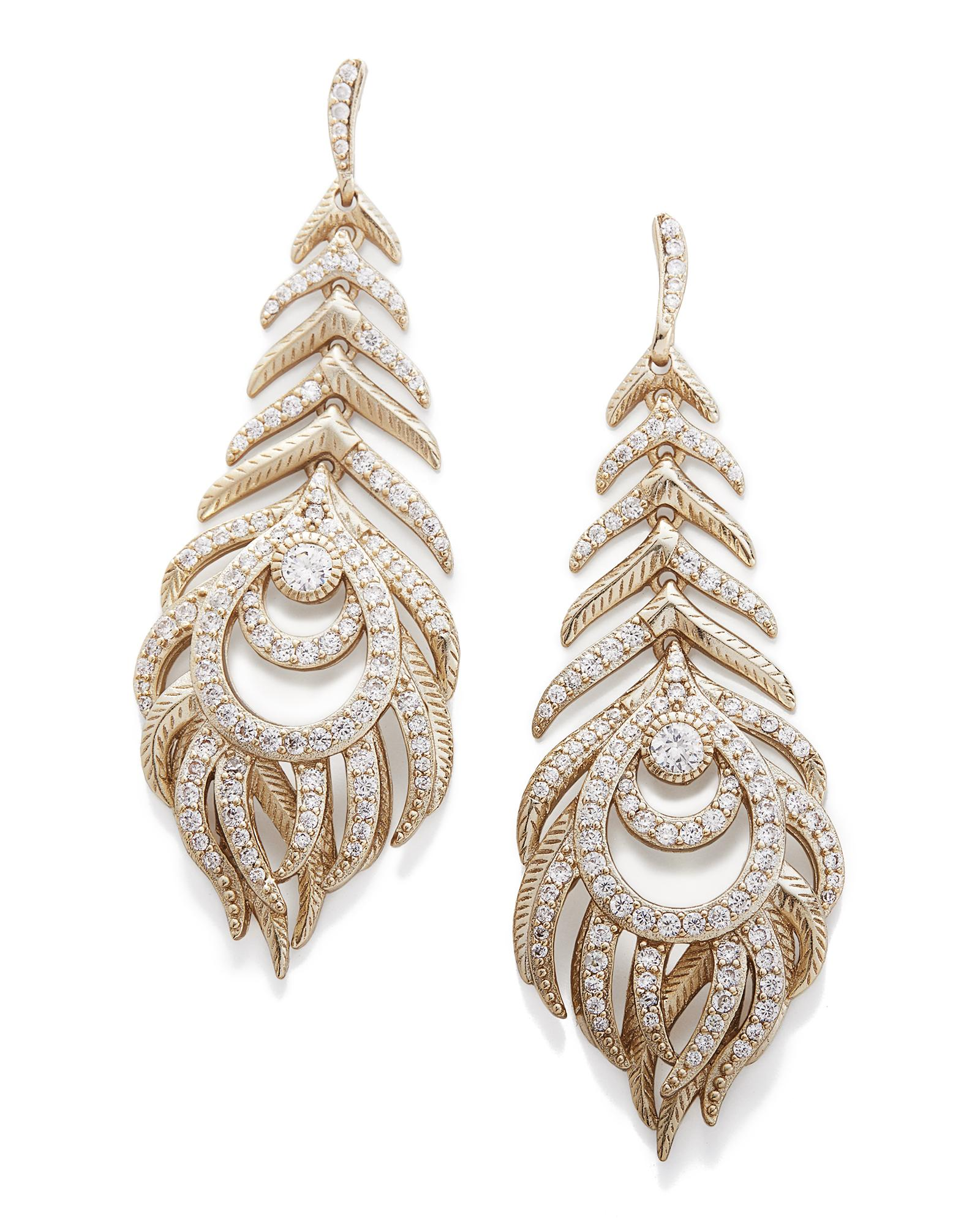 Elettra Feather Drop Statement Earrings