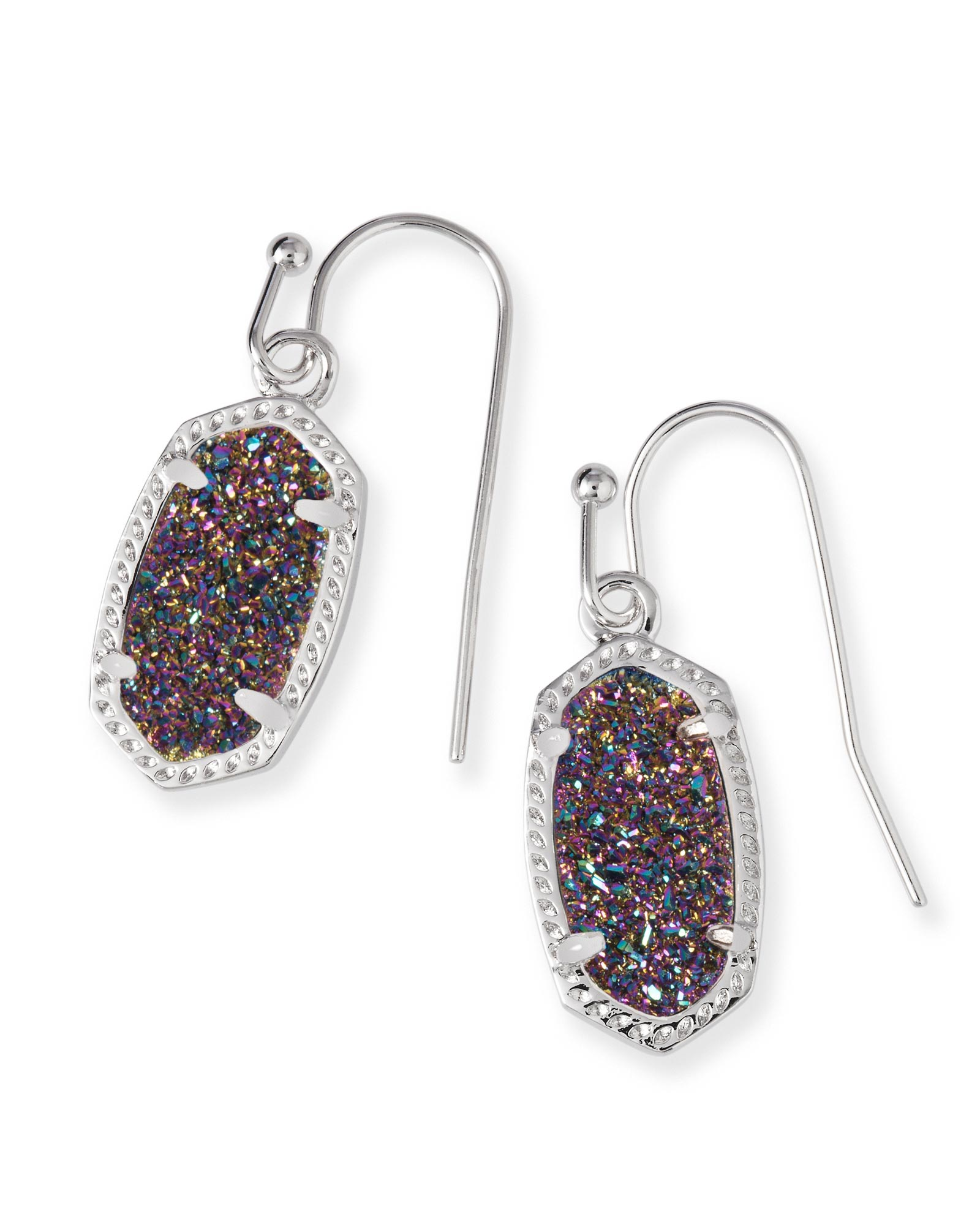 Lee Silver Drop Earrings in Multi Color Drusy
