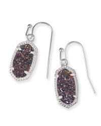 Lee Silver Drop Earrings in Multi Color Drusy