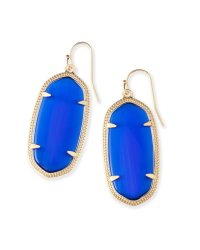 Elle Gold Drop Earrings in Cobalt Blue