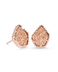 Tessa Rose Gold Stud Earrings in Drusy | Kendra Scott