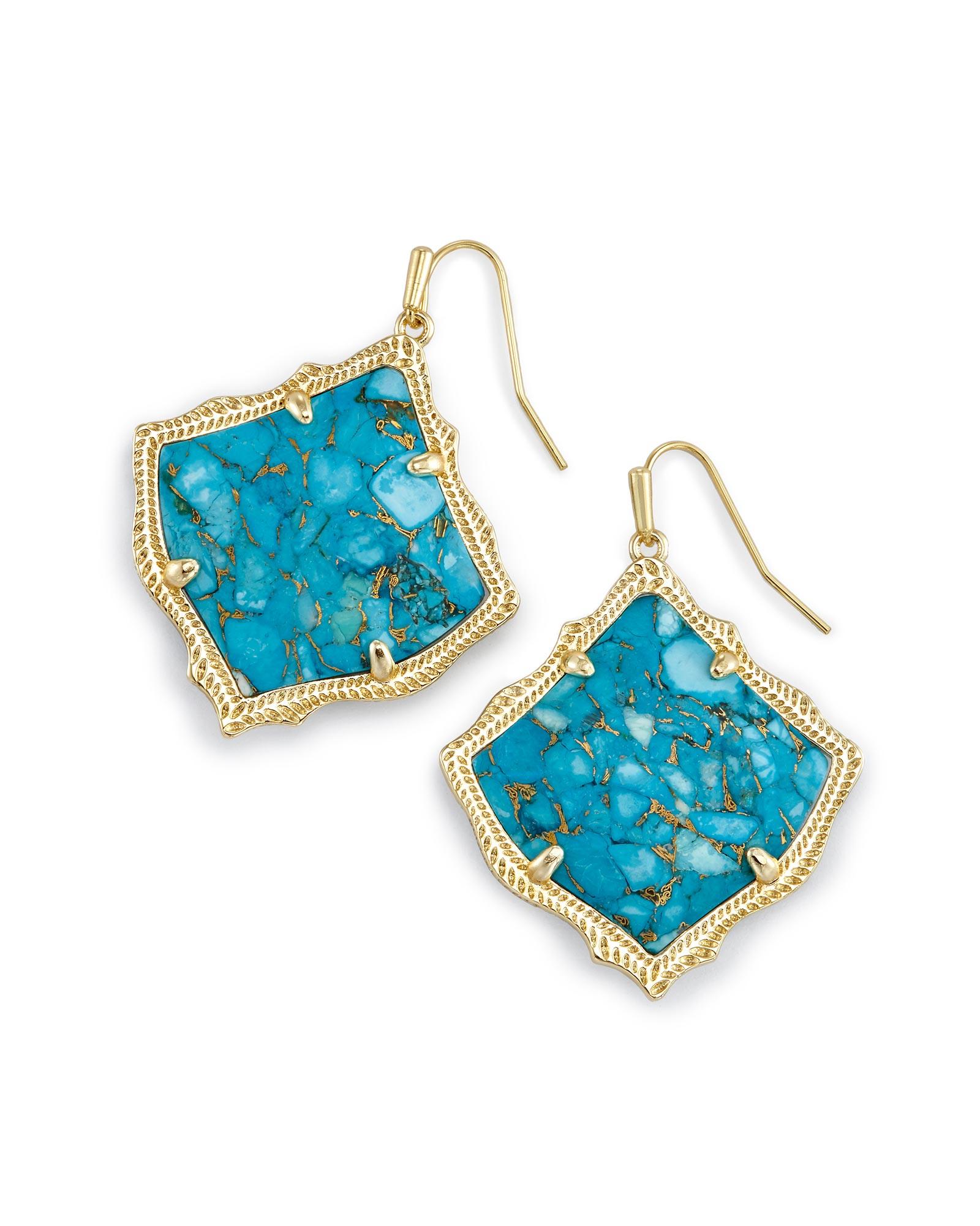 Kirsten Drop Earrings Bronze Veined Turquoise