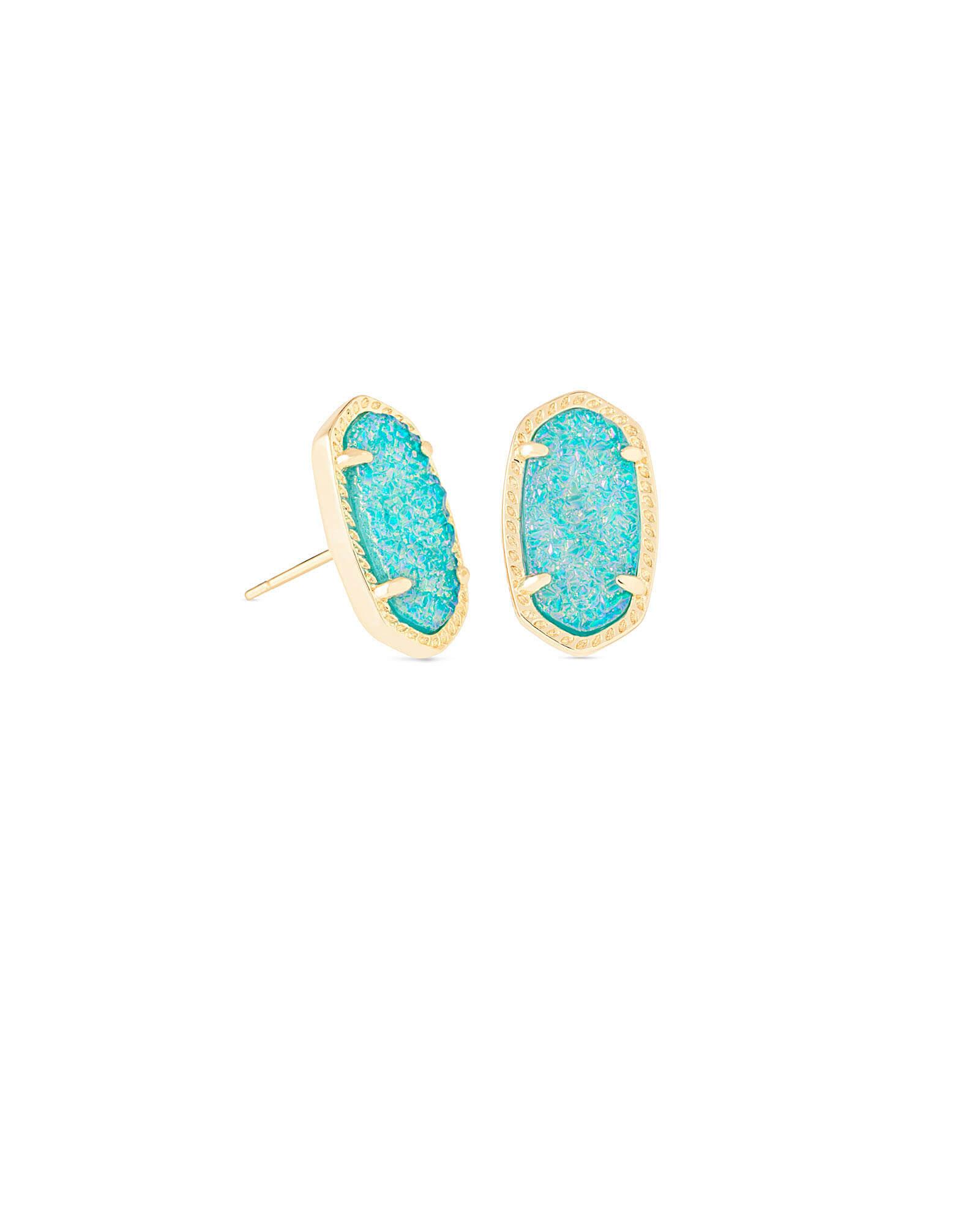Ellie Gold Stud Earrings in Teal Drusy