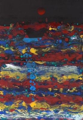 falling water abstract monoprint by ken falana $25,000