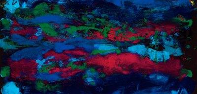 falling water abstract monoprint, $4,000