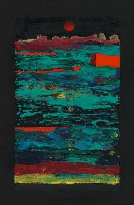 monoprint titled storm surge