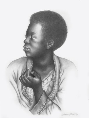 graphite pencil drawing of an african-american woman, untitled