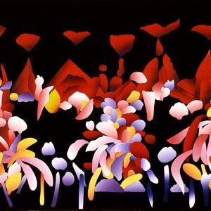 ripe fruit, 1993 silkscreen construction collage by ken falana