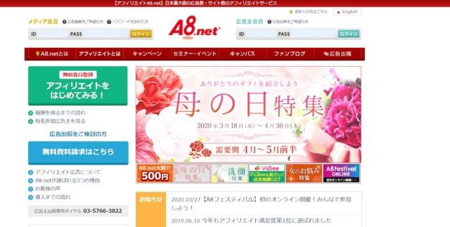 賢威のアフィリエイトA8(公式サイト)