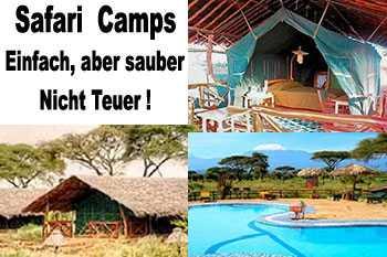 Safari mit gemischte Übernachtung für 4 Tage - Im Camps Afrikanische Strukturen -