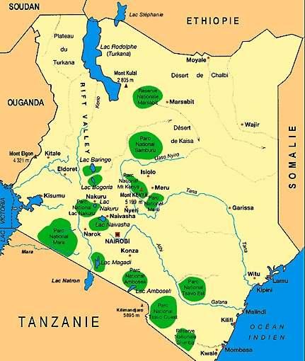 Kenia parks und reservate - Kenia und seine angrenzenden Länder.
