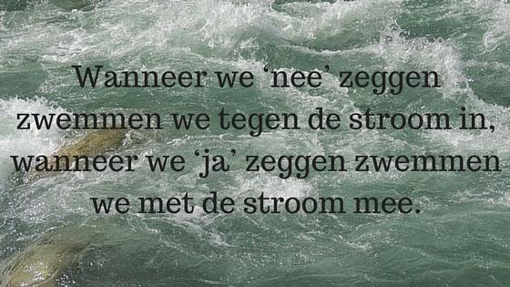 Wanneer we 'nee' zeggen zwemmen we tegen de stroom in, wanneer we 'ja' zeggen zwemmen we met de stroom mee.
