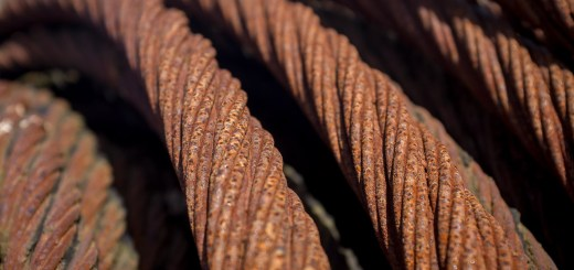 A coil of rusty steel cable