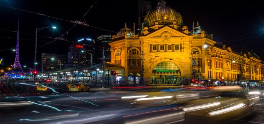 Light trails captured in front of Flinders Street Railway Station, Melbourne, Victoria Olympus OMD EM-5, 2 sec, ƒ11, 10mm, ISO200
