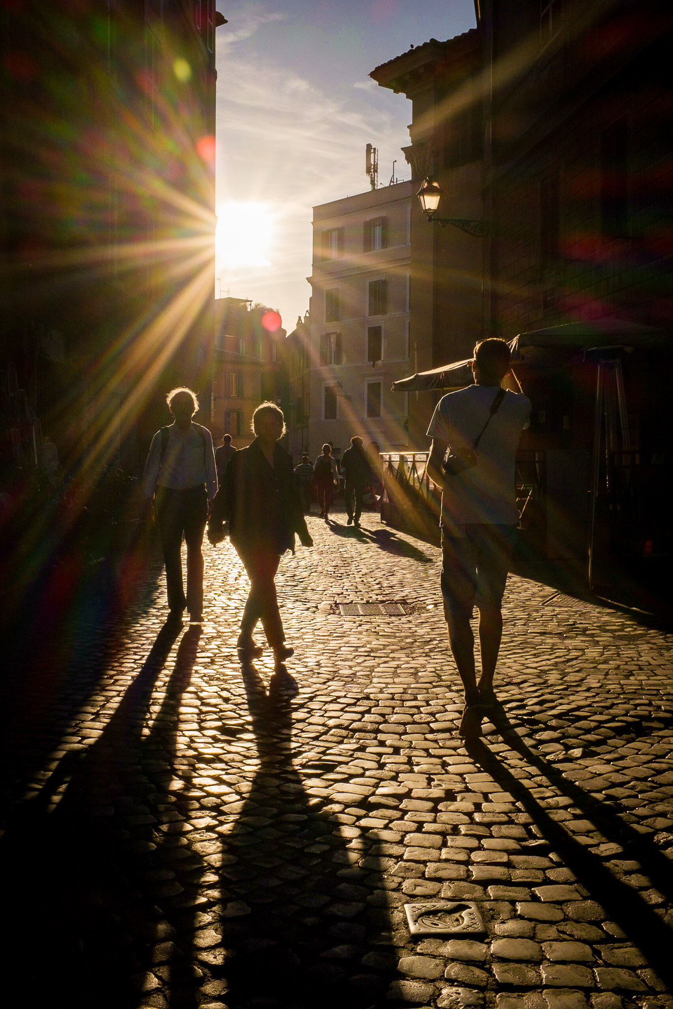 As the sun sets the shadows get longer in Trastevere, Rome