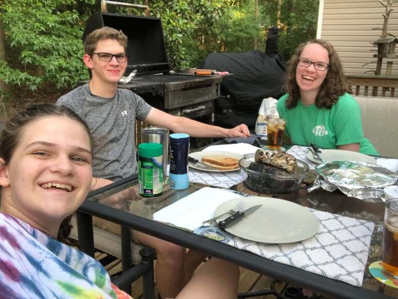 Kennedyfamfive kids summer, dinner on the deck, family bonding