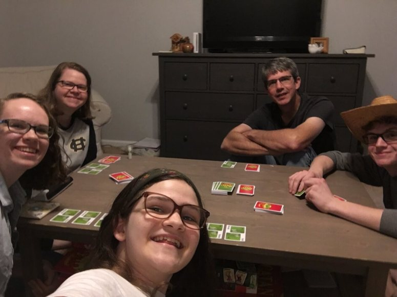 kennedyfamfive playing apples to apples, family fun time, family bonding