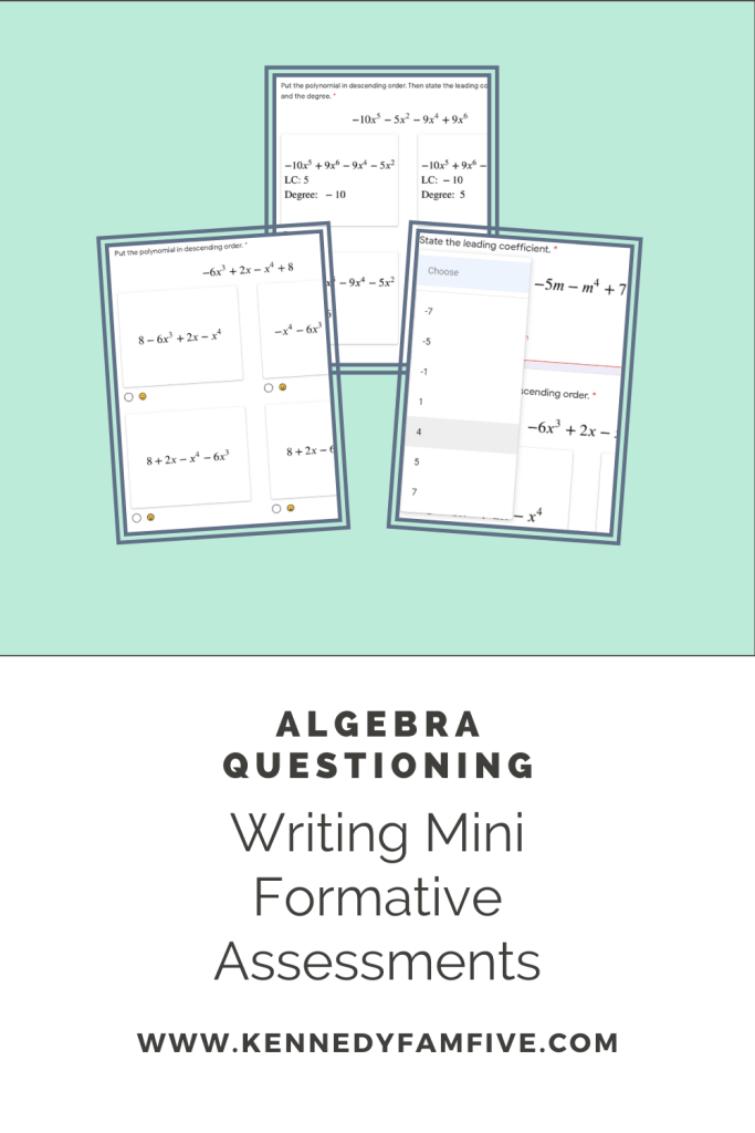Create skills assessments for the basic (and not so basic) standards you're teaching in algebra.  These are from the polynomials unit of Algebra 1.