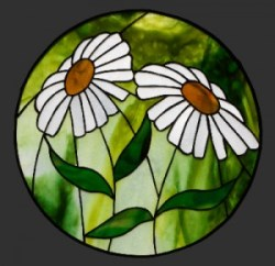 Daisies 390mm Stained Glass Pendant © David Kennedy 2011