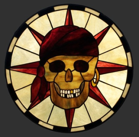Pirate Skull stained glass pendant panel, 17 inch diameter, Youghiogheny and Uroboros Art Glass.
